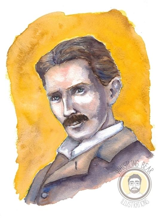 Nikola Tesla fan piece watercol - whistlingbear   ello