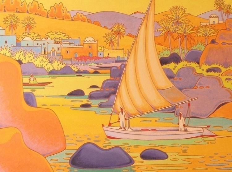 river Nile Asswan acrylics canv - gillesmevel | ello