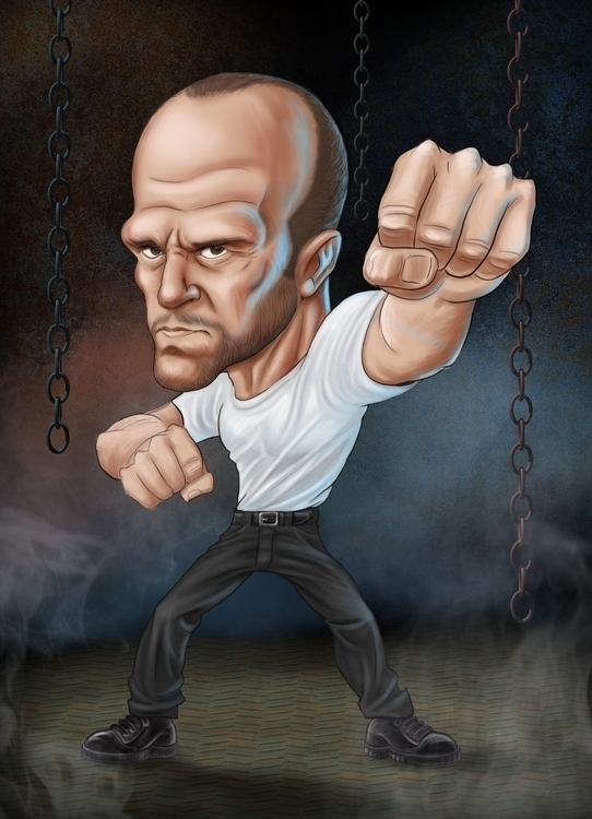 Jason Statham Caricature - illustration - rossger | ello