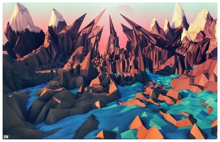 lowpoly, c4d, landscape, mountains - osamawahid | ello