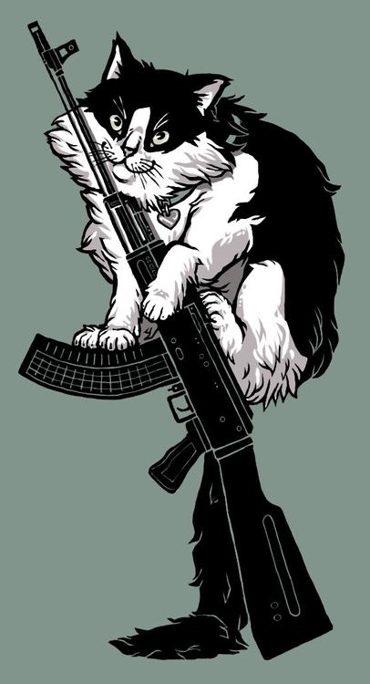 AK-47 Cat - cat, gun - catalinajuarros | ello
