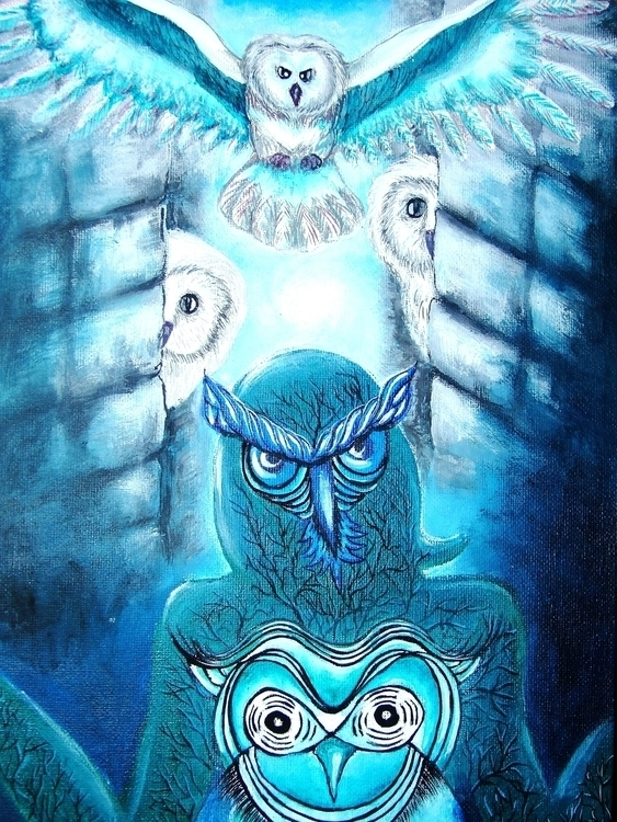 Owls: Obsessive Wisdom acrylic  - aiakira | ello
