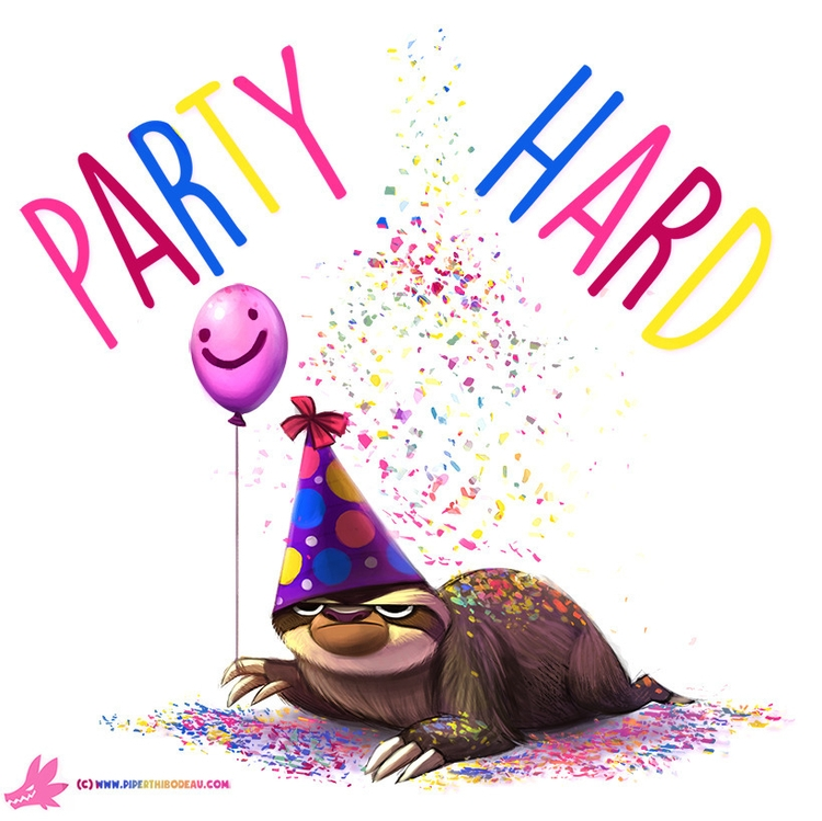 Daily Paint Party Sloth - 1006. - piperthibodeau | ello