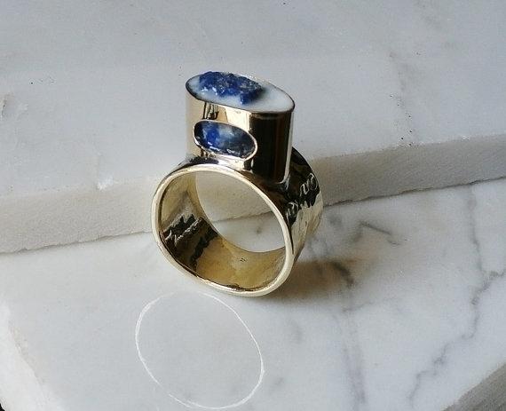 brass ring raw Lapis lazuli - jewelry - wolfgangschweizer | ello