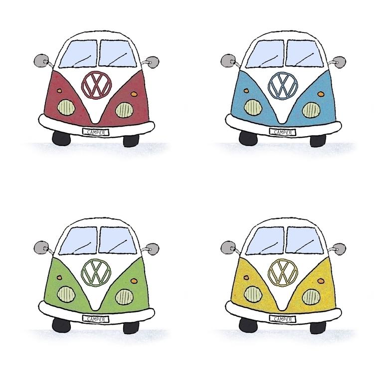 Camper-Vans - illustration, camping - rosiebarclay   ello