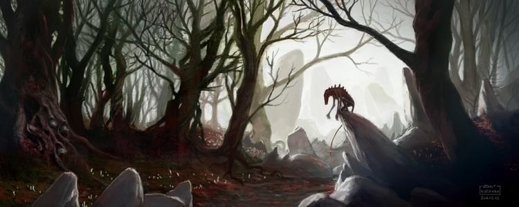 Morning forest - illustration, painting - qci | ello