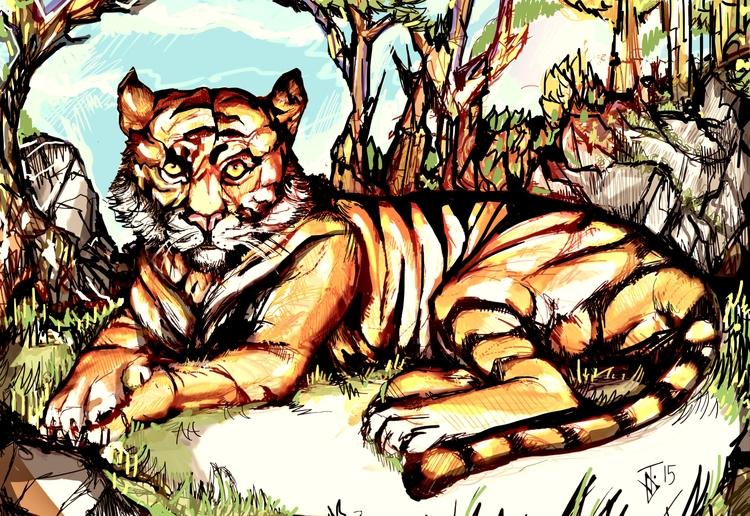 Tiger grass - tiger, jungle - jeremieduval | ello