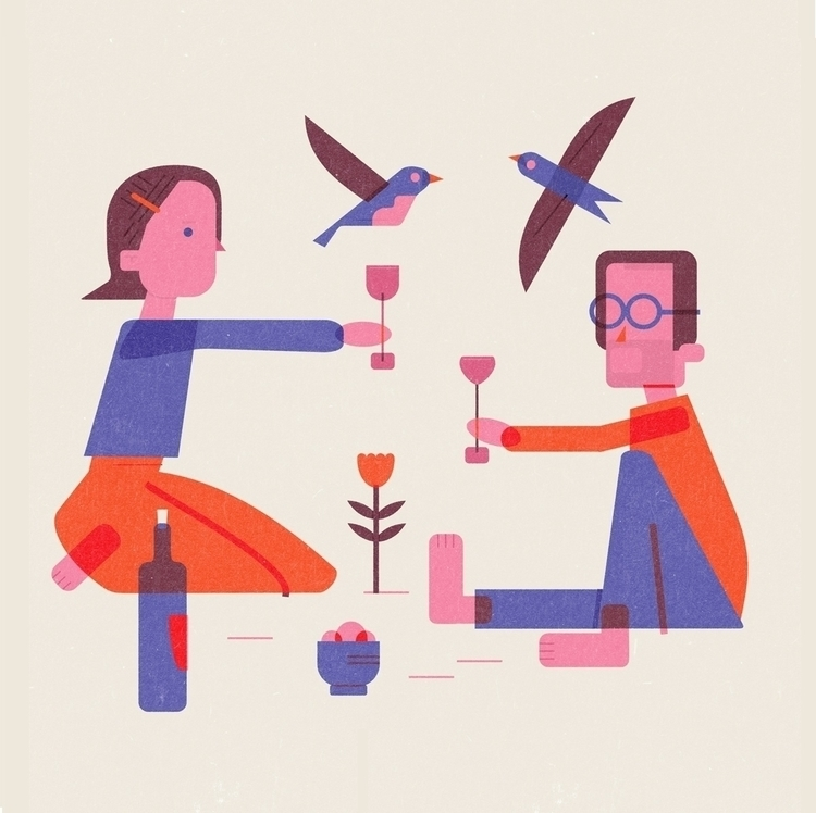 wine - illustration, jamieaspinall - schnuppe | ello