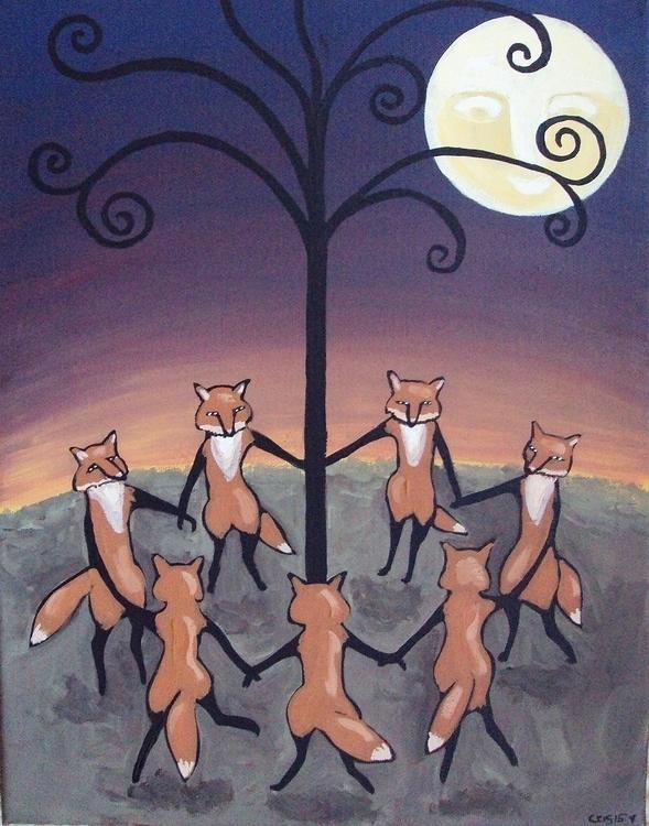 Fox Party - foxes, modernimpressionisticfolkart - cristinegreen | ello