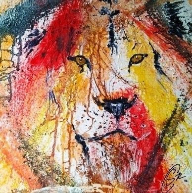 Splatter Lion Acrylic Canvas 24 - simonraskina | ello