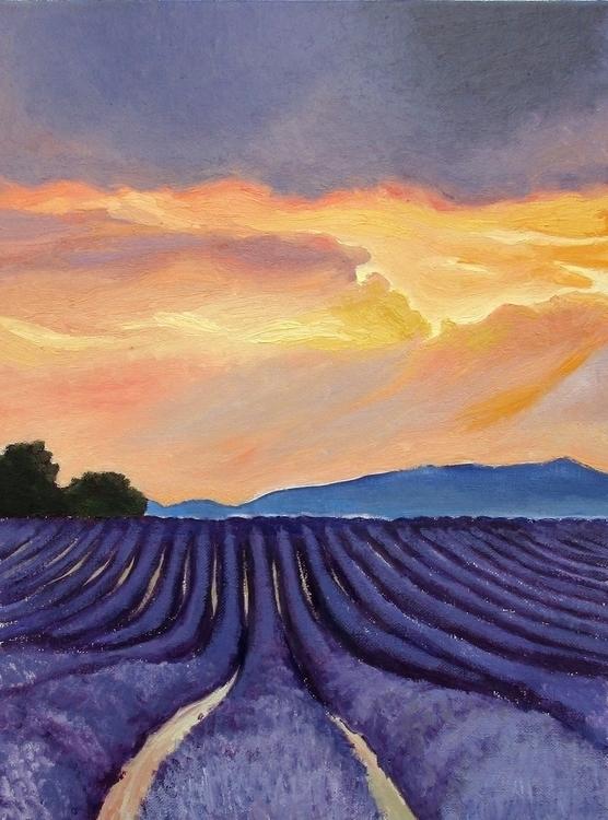 Lavender fields 3 - landscape, oilpainting - ivsebastian | ello