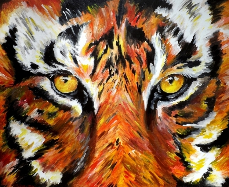 Tiger Eyes Acrylic Canvas 24 30 - simonraskina | ello