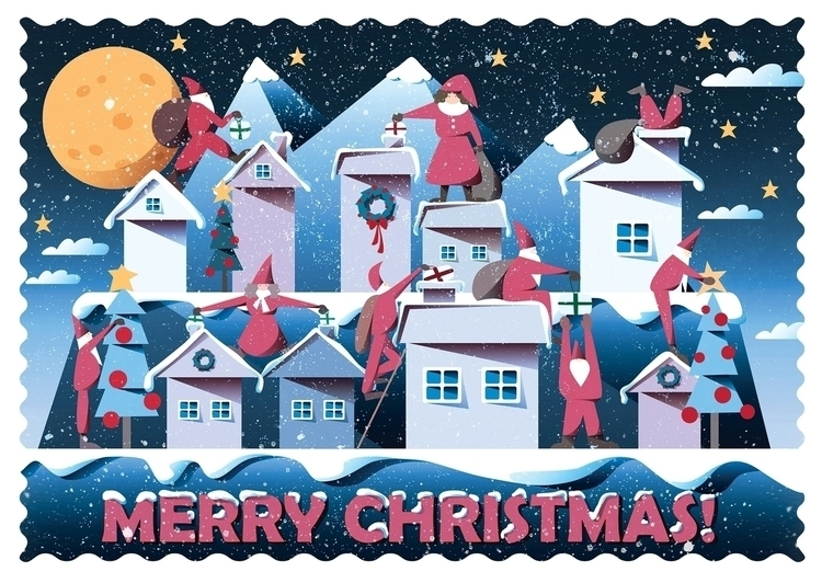 Night Christmas - Postcard - illustration - mathildaholmqvist | ello