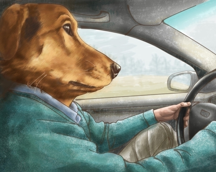 Driving - illustration, digitalart - sophiekittredge | ello