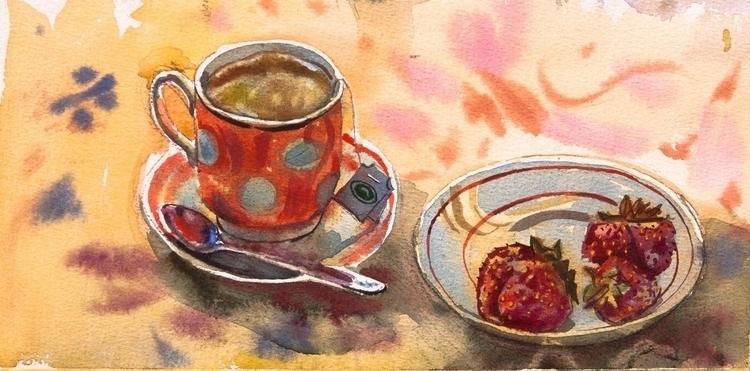 tea, strawberry, food, watercolor - naktisart | ello