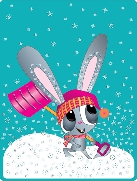Time dig - Bunny, Snow, Shovel, Winter - kvoerg   ello