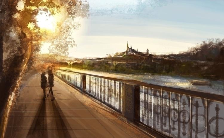 Afternoon walk  - illustration, drawing - agataszargot | ello