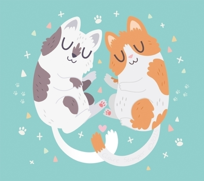 Kitty Cuddles - cat, kitty, cuddle - clairestamper | ello
