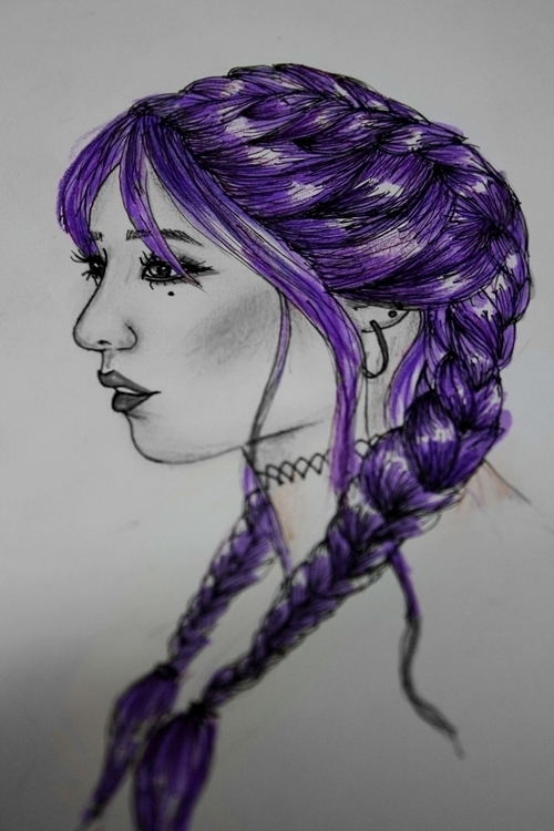 braids, girl, hairdrawing, purplehair - kaitlynsmith | ello