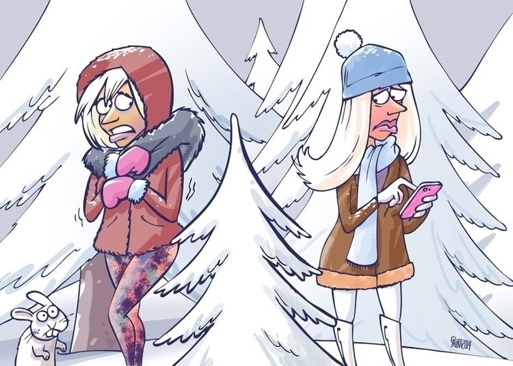 woman, winter, snow, cool, rabbit - gatissluka | ello