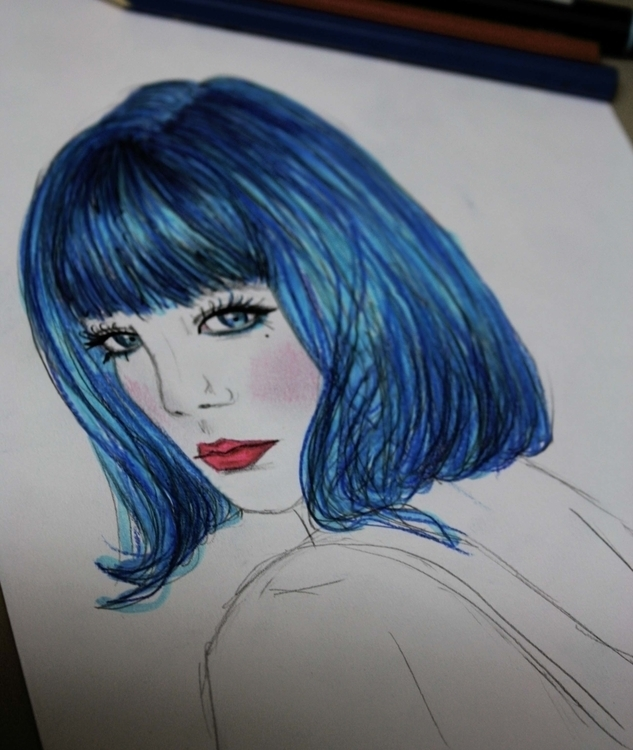 girl drawing - bluehair - kaitlynsmith | ello