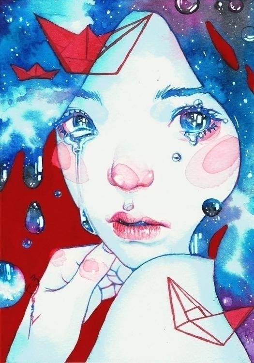 Blues - watercolor, blue, aqua, watercolor - frany-4039 | ello