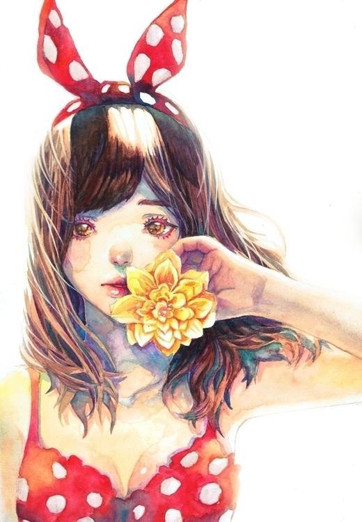 Polka - watercolor, cute, summer - frany-4039   ello