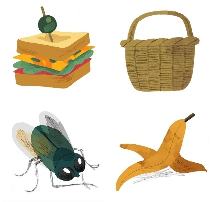 sandwich, picnic, basket, fly - cmouta | ello