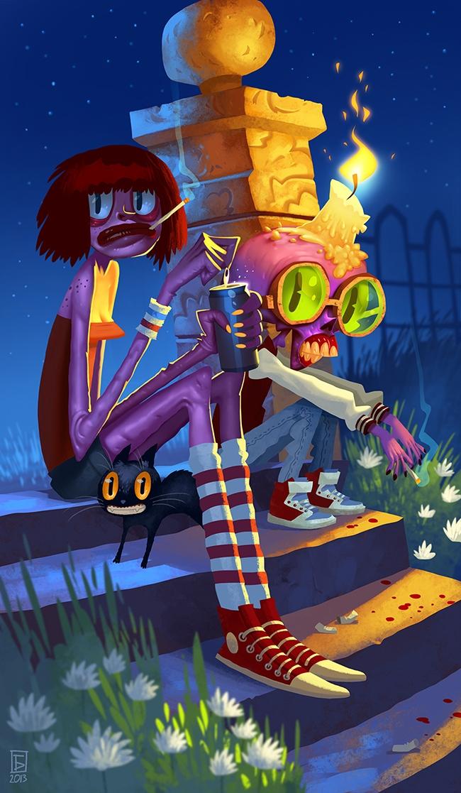 Hanging - graveyard, zombie, girl - boris_bakliza   ello