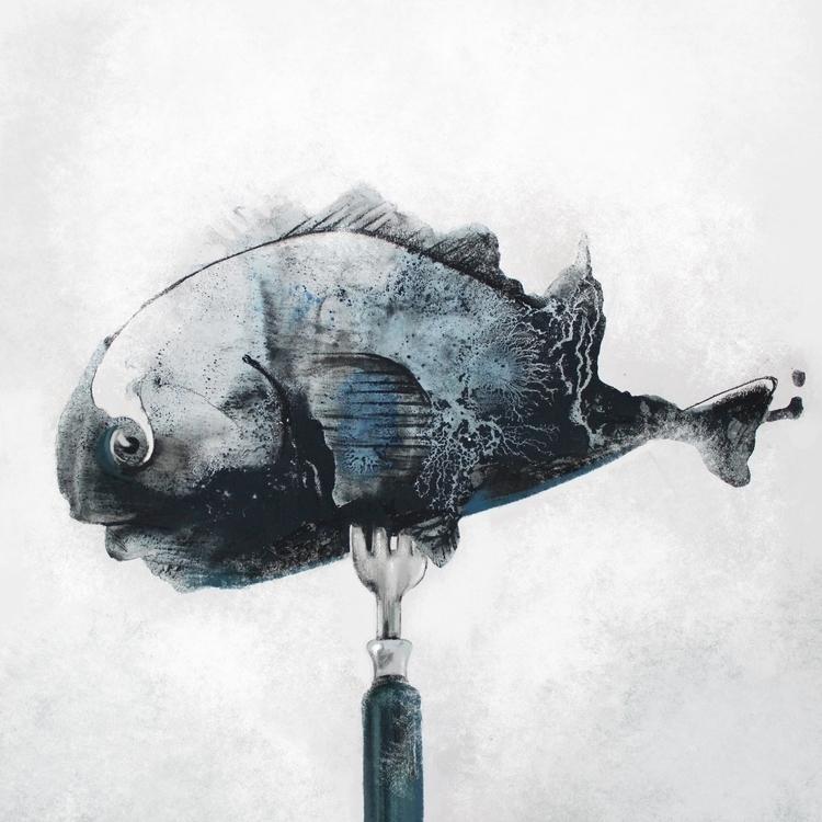fork - illustration, acrylic, painting - marina_sav | ello