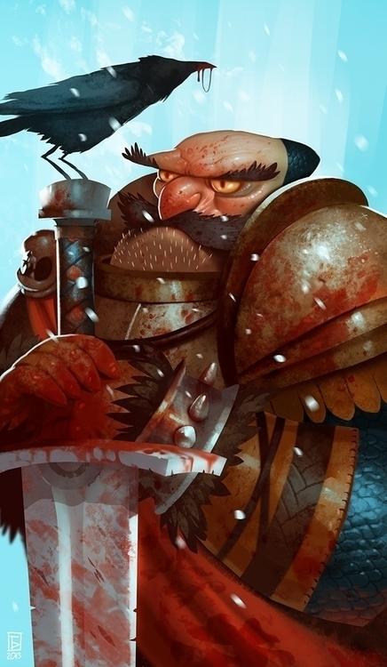 Pledge - knight, crow, sword, snow - boris_bakliza | ello