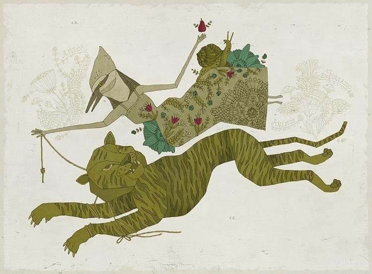 Burning Bright - illustration, tiger - denisegallagher | ello