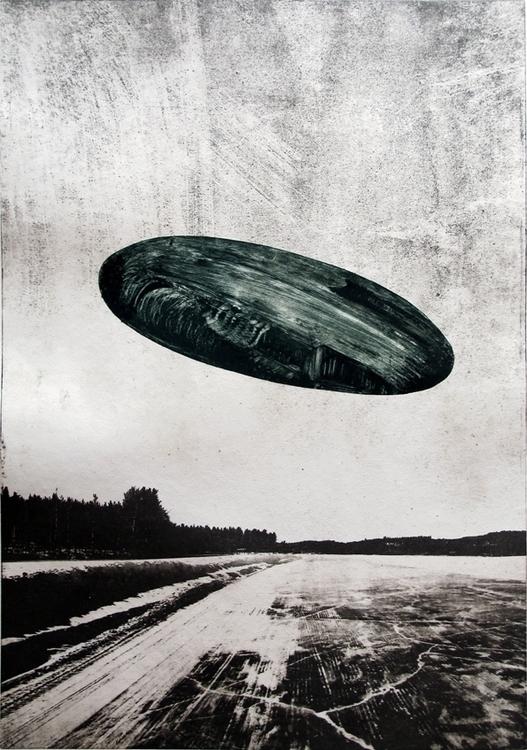 Ufo Winter - illustration, painting - gollo-1028   ello