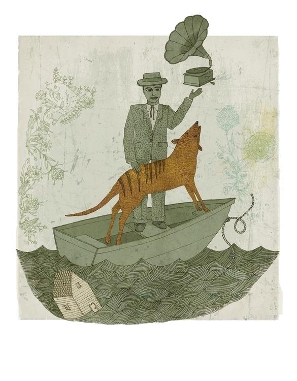 Harmonious Life Thylacine - illustration - denisegallagher | ello