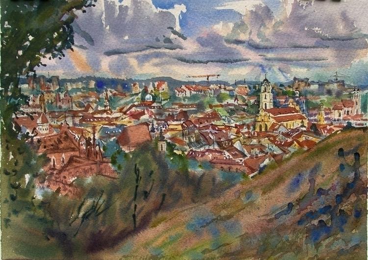 view Vilnius - watercolor, waterclour - naktisart   ello