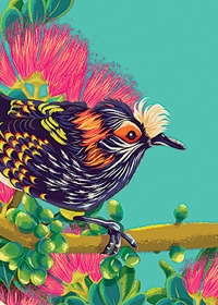 Honey Creeper - bird, flowers, tree - onedove | ello