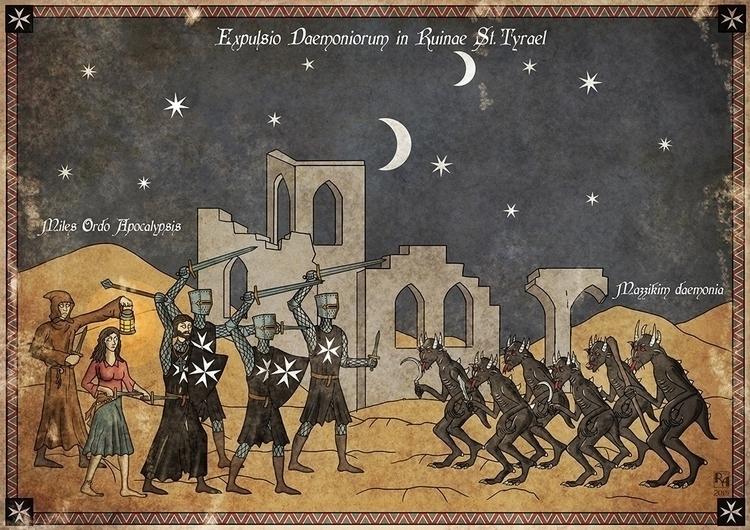 Warriors Demons - illustration, medieval - robertaltbauer | ello