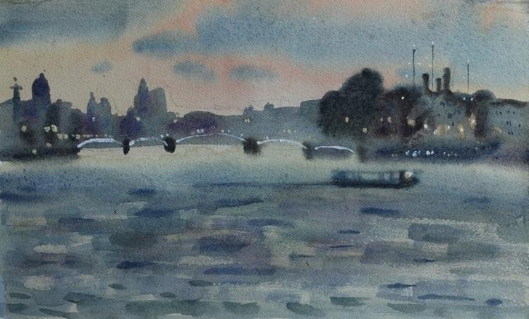 twillight Neva river - watercolor - naktisart | ello