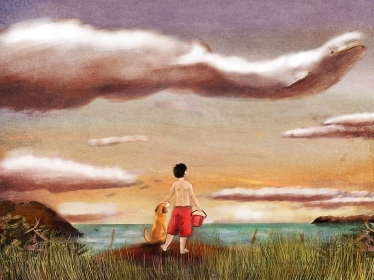 Cloud Gazing - illustration, children'sillustration - pamcaseyart | ello