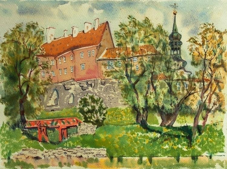 watercolor, watercolour, tallinn - naktisart | ello