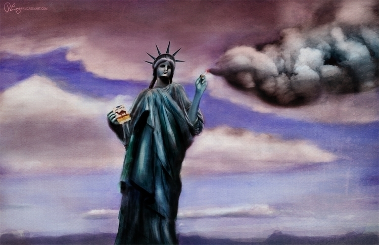 Smoking Liberty - editorialillustration - pamcaseyart | ello