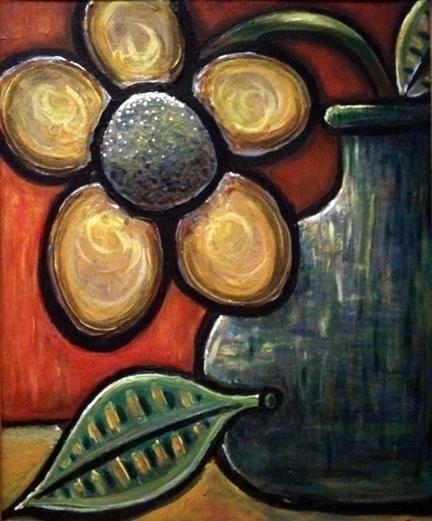 Flower Blue Vase - flower, painting - catsnodgrass | ello