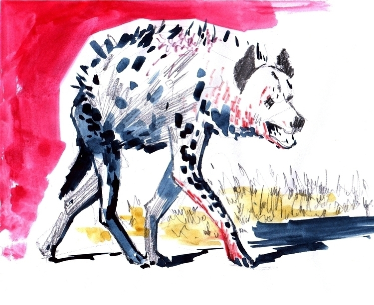 hyena - animals, wild, sketch, sketchbook - natatulegenova | ello