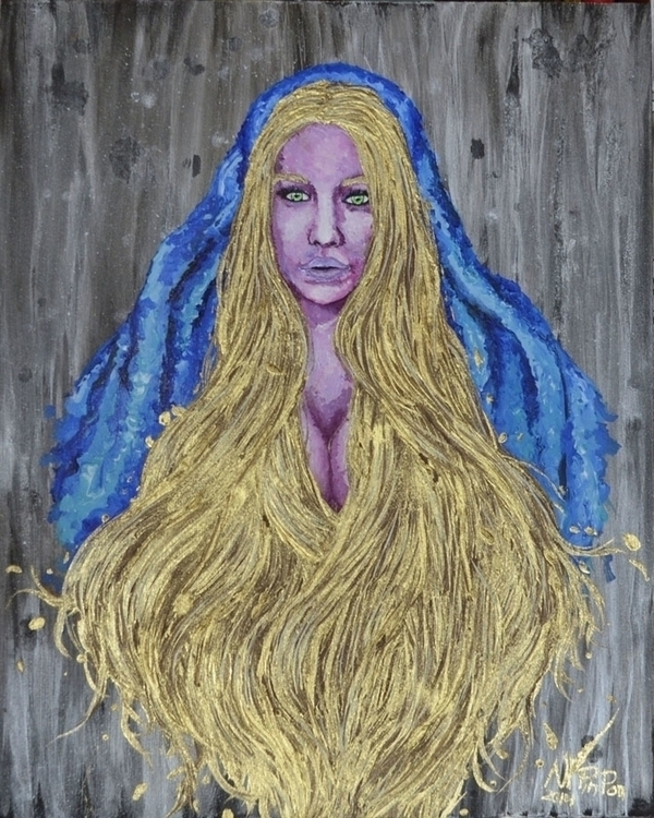 gold, golden, goldenhair, painting - alejandropinpon | ello