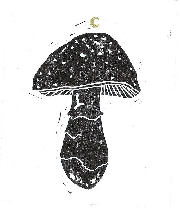 Mushroom - linocut, linoleumprint - abigail-1757 | ello