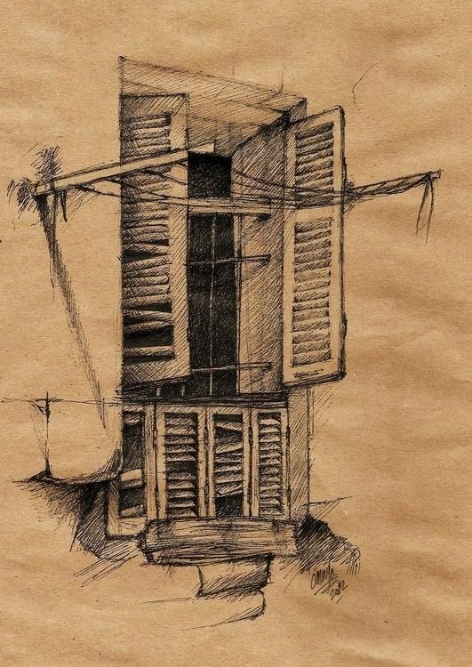 Window sketch - penink, inktober - omnyahussein | ello