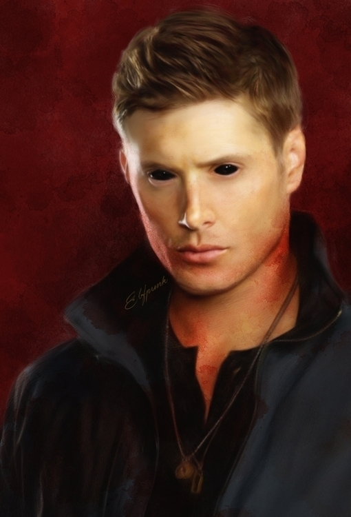 Demon Dean Winchester - painting - elfpunk999 | ello