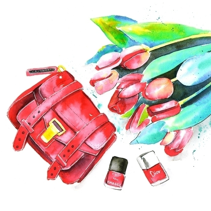 illustration, watercolor, bag - mistakeann | ello