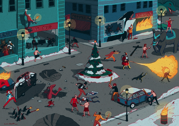 Winter time upside - winter, illustration - nicolascastell | ello