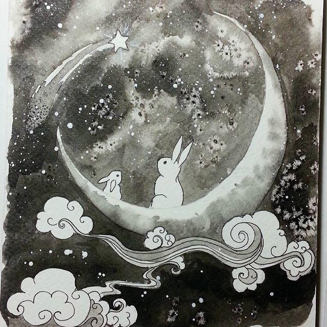 Moon Bunies Technique: ink Fabr - michellecortazar10   ello